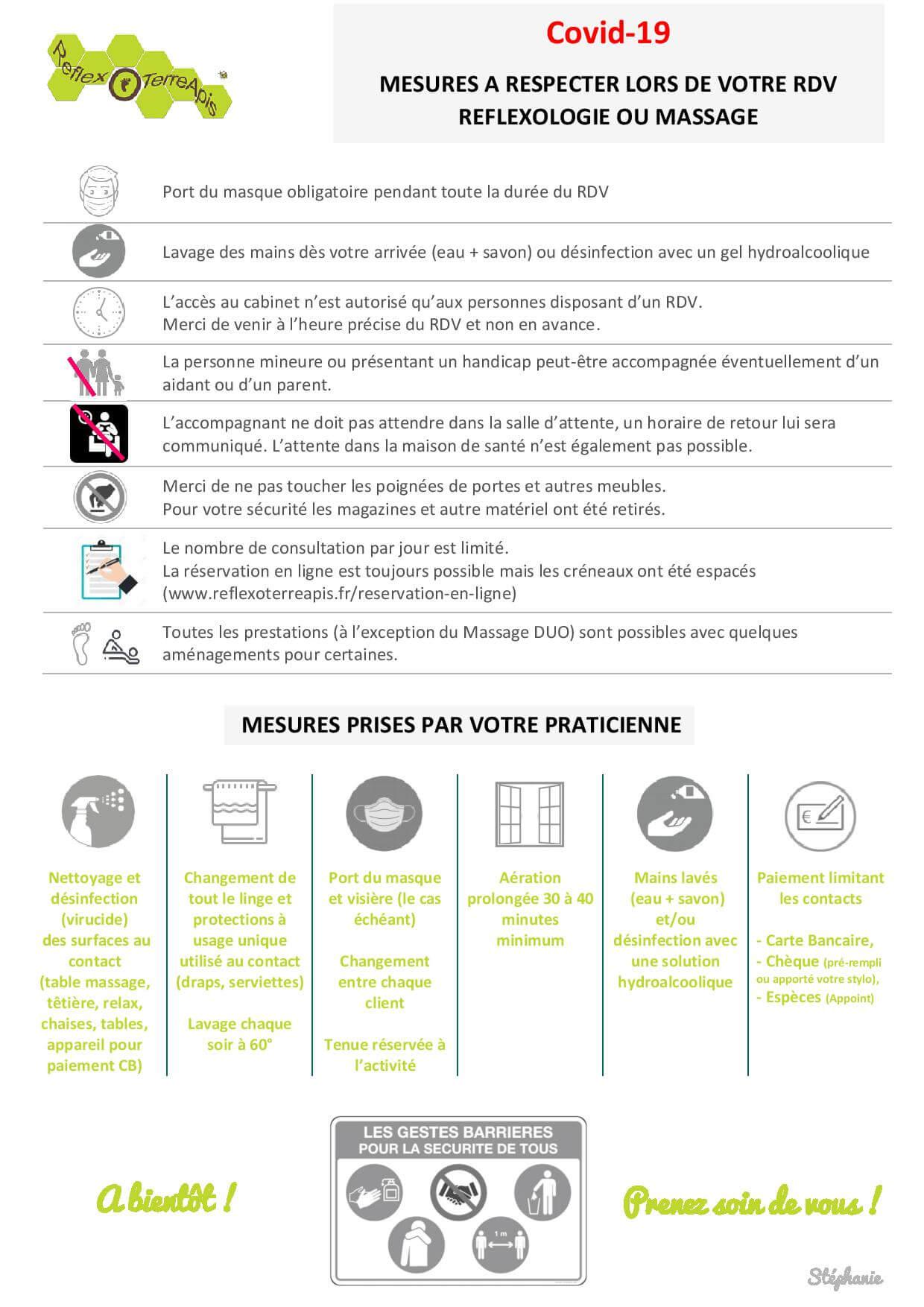 Covid-19 Ouverture Mesures sanitaires réflexologie  Massage
